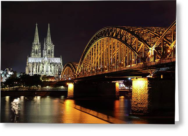 Cologne Cathedral And Bridge Greeting Card by Holger Ostwald