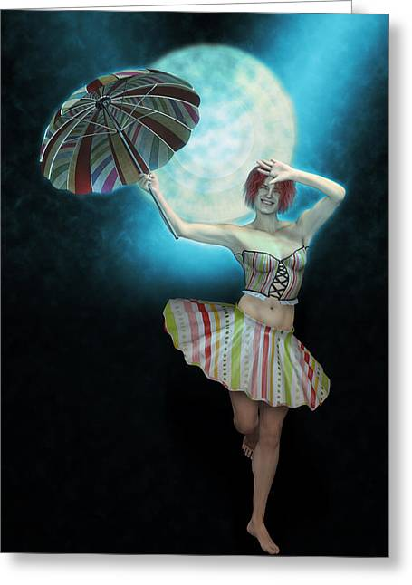 Colombina In The Circus-azul Greeting Card by Joaquin Abella