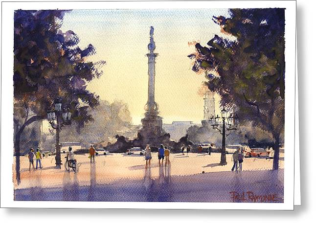 Colon Las Ramblas Barcelona Greeting Card by Paul Raymonde