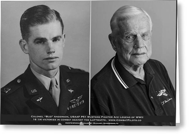 Colonel Bud Anderson United States Fighter Ace Legend - Then And Now. Greeting Card