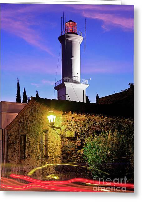 Greeting Card featuring the photograph Colonia Lighthouse by Bernardo Galmarini