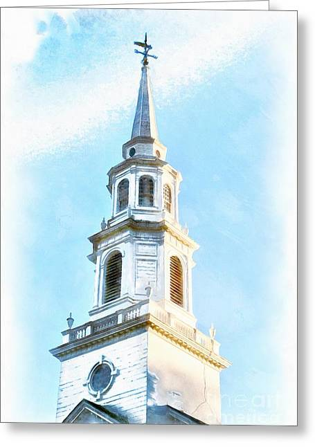 Colonial Church Concord Greeting Card by Edward Fielding