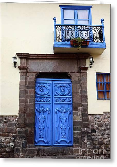 Colonial Door In Cusco Peru Greeting Card by James Brunker