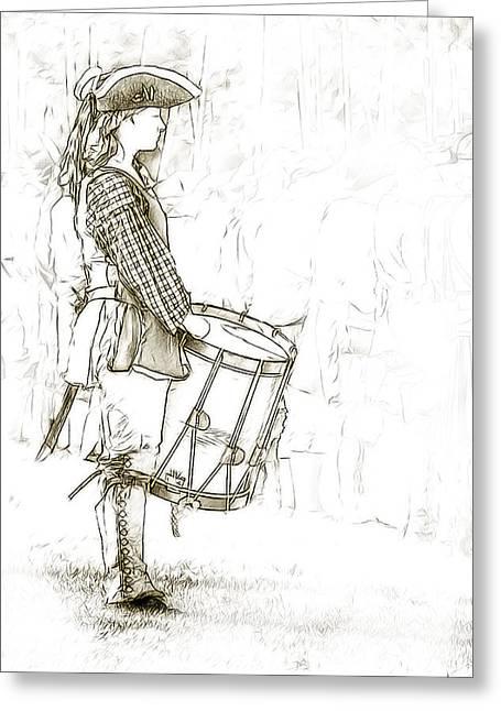 Colonial Drummer Portrait Sketch Greeting Card by Randy Steele