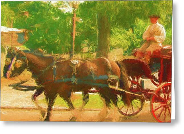 Colonial Horse And Carriage Greeting Card