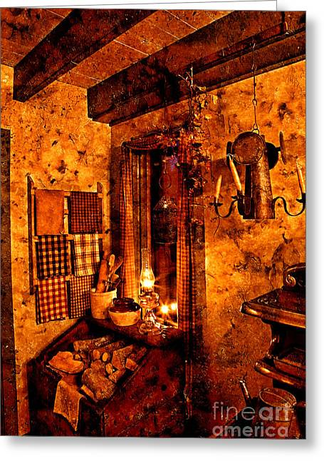 Colonial Kitchen Evening Warmth Greeting Card