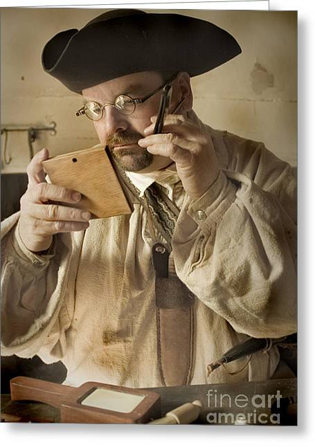 Greeting Card featuring the photograph Colonial Man Shaving by Kim Henderson