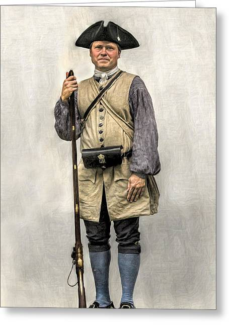 Muzzleloader Greeting Cards - Colonial Militia Soldier Portrait Greeting Card by Randy Steele