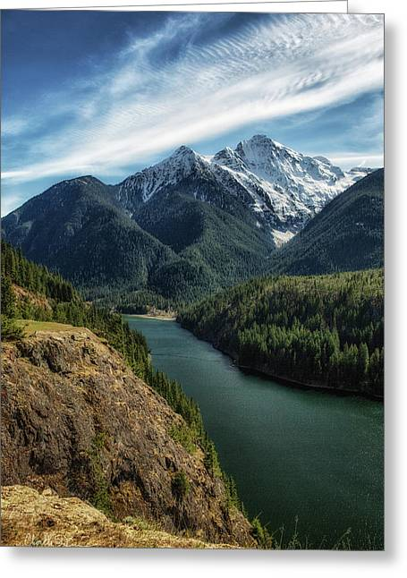 Colonial Peak Towers Over Diablo Lake Greeting Card