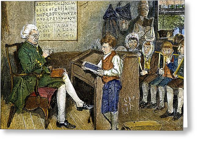18th Century Greeting Cards - Colonial Schoolmaster Greeting Card by Granger