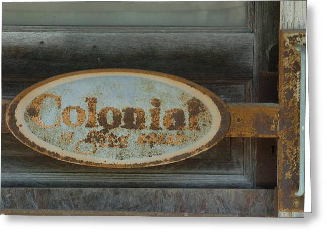 Colonial Sign Detail Greeting Card by Jon Benson