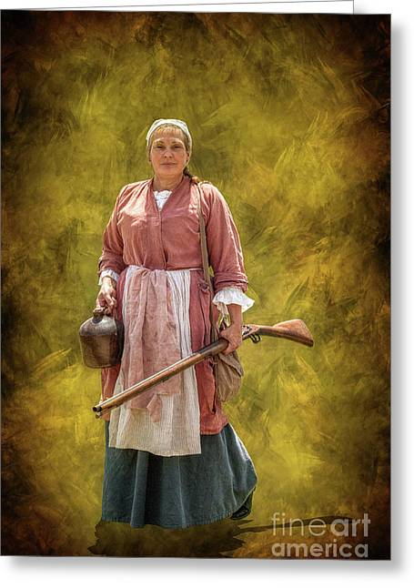 Colonial Woman With Rifle Greeting Card by Randy Steele