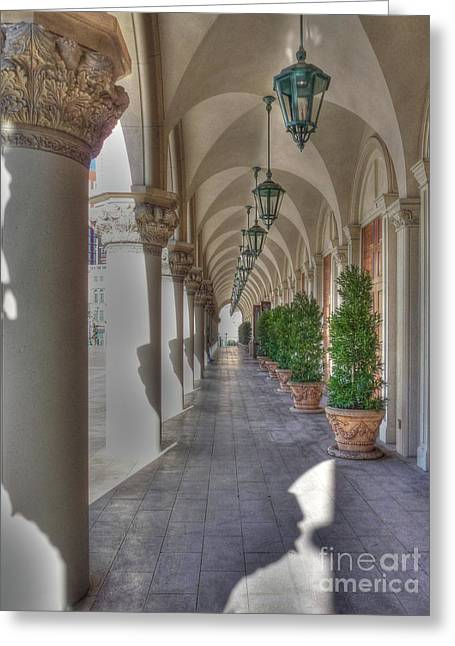 Colonnade At The Venetian Greeting Card by David Bearden