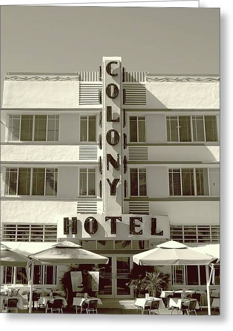 Colony Hotel South Beach Greeting Card