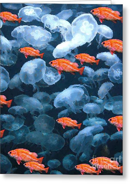 Color And Colorless Fish Greeting Card