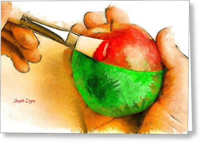 Color Apple Greeting Card by Leonardo Digenio