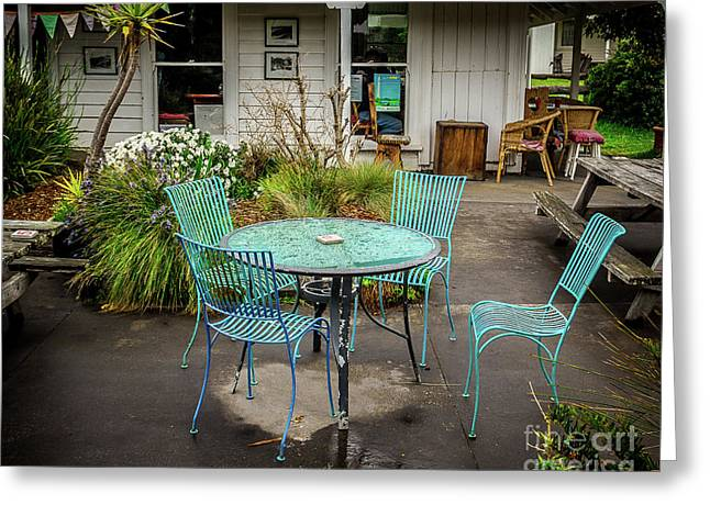 Greeting Card featuring the photograph Color At Cafe by Perry Webster
