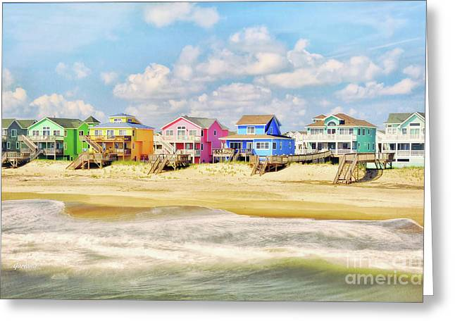 Color Beach Homes In The Morning Greeting Card by Garland Johnson