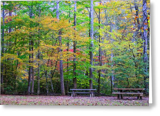 Color Benches Greeting Card