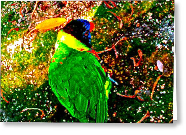 Flocks Of Birds Mixed Media Greeting Cards - Color Bird Blast Greeting Card by Debra     Vatalaro