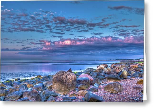 Color Blast Beach Rocks And Sky Greeting Card by John Supan