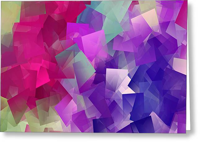 Color Block - Purples Greeting Card by Marianna Mills
