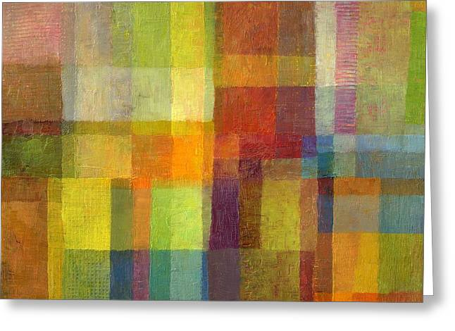 Greeting Card featuring the painting Color Collage With Green And Red 2.0 by Michelle Calkins