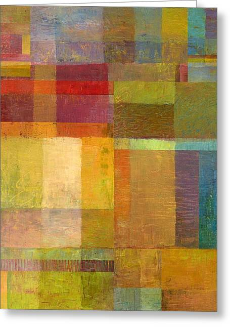 Greeting Card featuring the painting Color Collage With Green And Red by Michelle Calkins