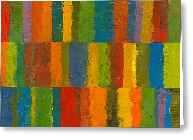 Greeting Card featuring the painting Color Collage With Stripes by Michelle Calkins
