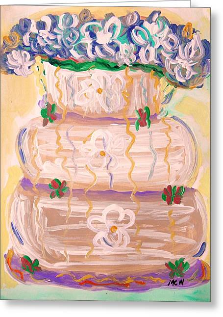 Color In A Wedding Cake Greeting Card by Mary Carol Williams