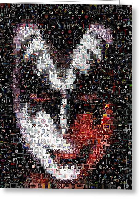 Color Kiss Gene Simmons Mosaic Greeting Card
