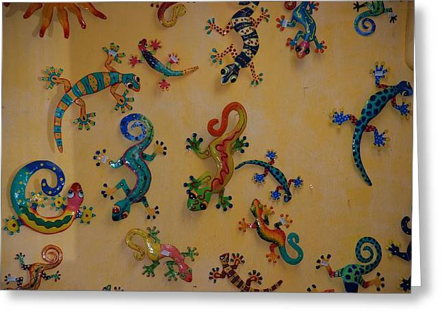 Greeting Card featuring the photograph Color Lizards On The Wall by Rob Hans