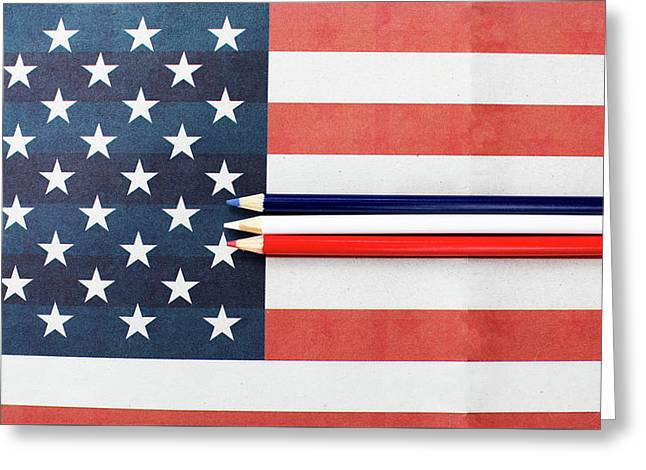 Greeting Card featuring the photograph Color Me Red White And Blue by Rebecca Cozart