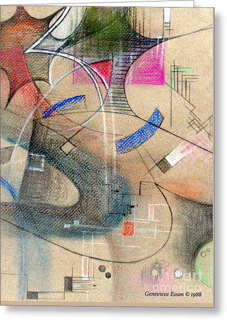 Color Pencil Abstract On Pastel Paper Greeting Card by Genevieve Esson