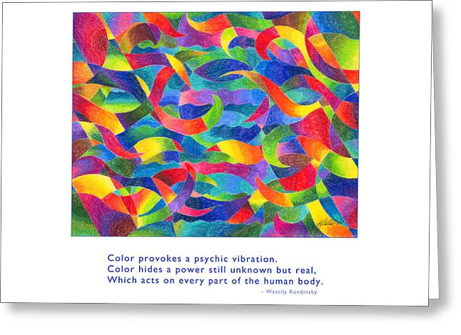 Greeting Card featuring the drawing Color Provokes Psychic Vibration by Kristen Fox