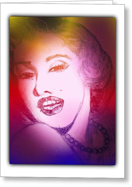 Color Rendition Of Marilyn Monroe #2 Greeting Card