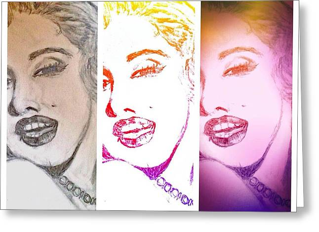 Color Rendition Of Marilyn Monroe #3 Greeting Card