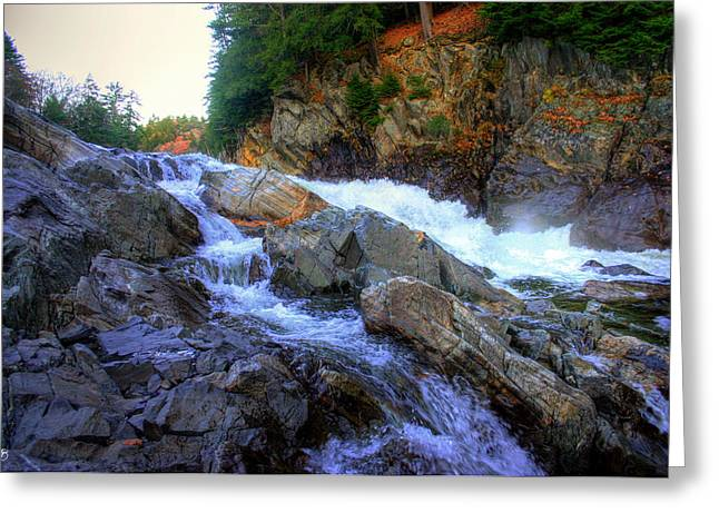 Color Steps At Livermore Falls Greeting Card