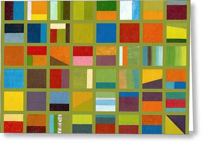 Image Repeat Greeting Cards - Color Study Collage 64 Greeting Card by Michelle Calkins