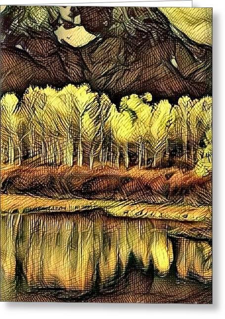 Colorado Aspens - Golden Abstract Greeting Card