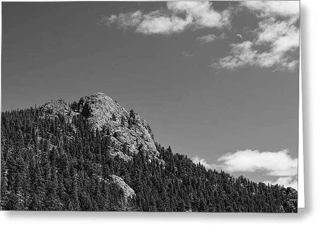 Greeting Card featuring the photograph Colorado Buffalo Rock With Waxing Crescent Moon In Bw by James BO Insogna