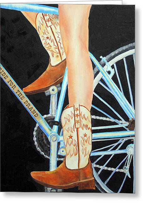 Greeting Card featuring the painting Colorado Cyclist by Jennifer Godshalk