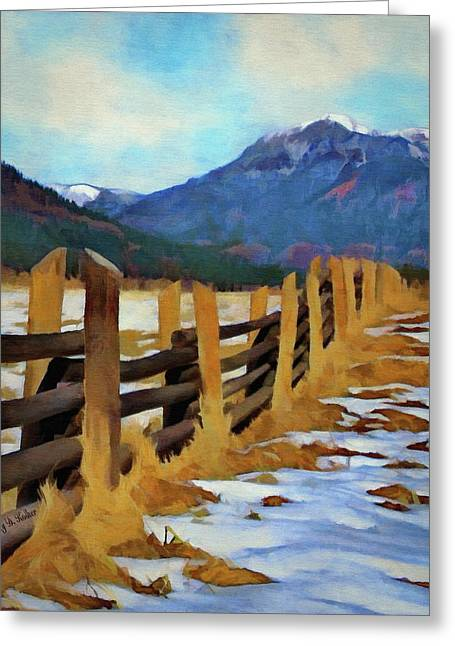 Greeting Card featuring the painting Colorado Fence Line  by Jeff Kolker