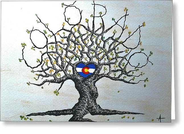 Greeting Card featuring the drawing Colorado Flag Love Tree by Aaron Bombalicki