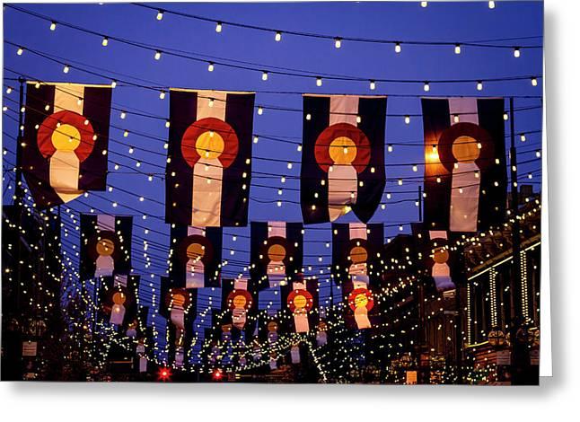 Colorado Flags On Larimer Square Denver Greeting Card