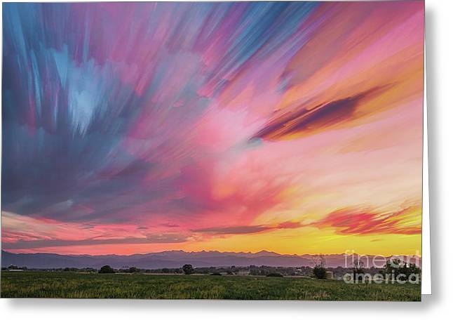 Colorado Front Range Crazy Sunset Timed Stack Greeting Card by James BO Insogna