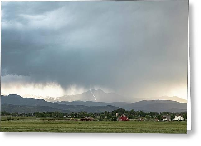 Colorado Front Range Lightning And Rain Greeting Card