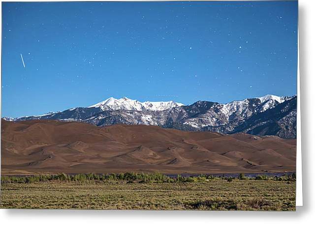 Colorado Great Sand Dunes With Falling Star Greeting Card by James BO Insogna