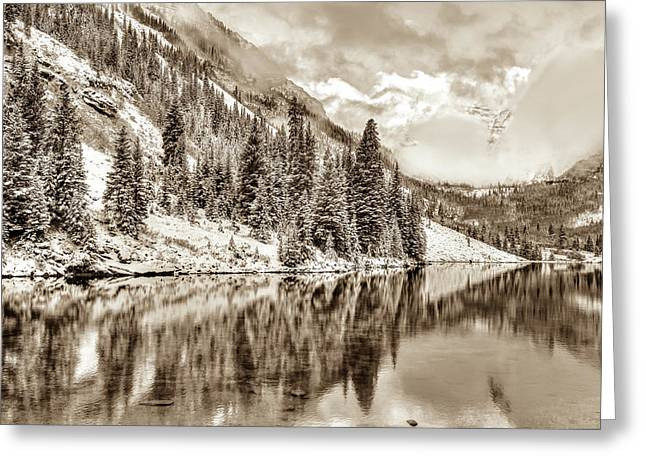 Colorado Living In Sepia - Maroon Bells Greeting Card by Gregory Ballos