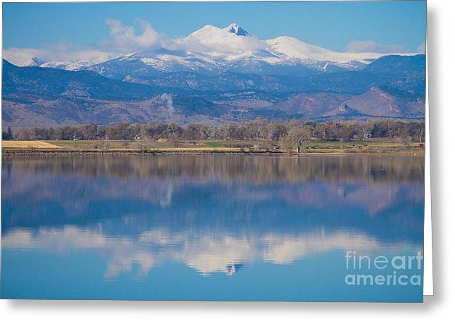 Colorado Longs Peak Circling Clouds Reflection Greeting Card